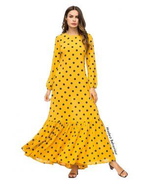 Yellow Polka Dot Patterned Maxi Dress