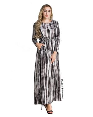 Vintage Black and White Pattern Maxi Dress