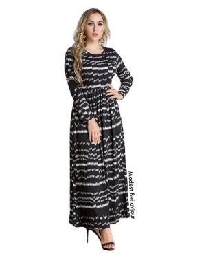 Abstract Grayscale Patterned Maxi Dress