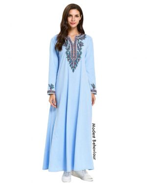 Baby Blue Abaya Dress With Embroidery