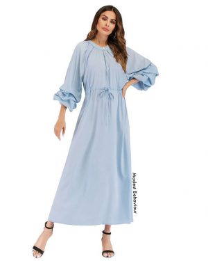 Baby Blue Lantern Sleeve Maxi Dress