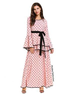 Baby Pink Polka Dot Maxi Dress
