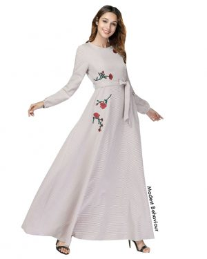 Beige Maxi Dress With Flower Embroidery