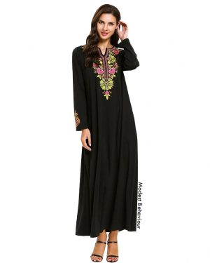 Black Abaya Dress With Embroidery