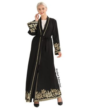 Black Abaya With Gold Embroidery