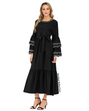 Black Abaya Dress With White Embroidery Trim