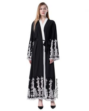 Black Abaya With White Lace Embroidery