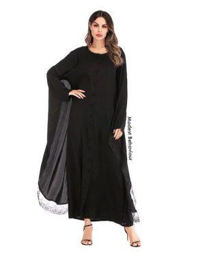 Black Butterfly Buttoned Abaya