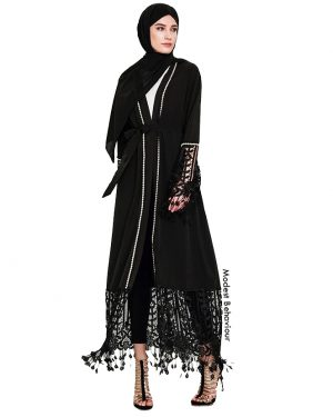 Black Lace Open Abaya