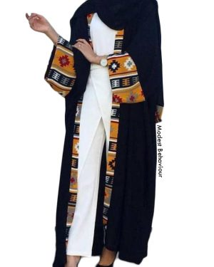 Black Open Abaya With Tribal Pattern