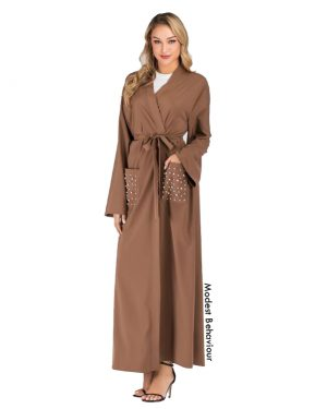 Brown Abaya With Pockets and Pearls