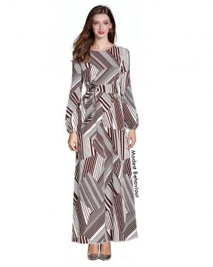 Brown White Patterned Maxi Dress