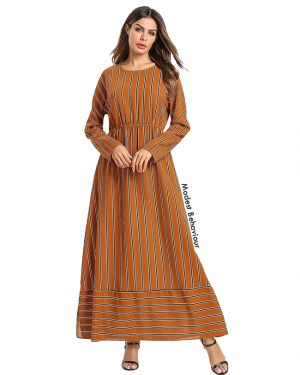 Burnt Orange Retro Striped Maxi Dress