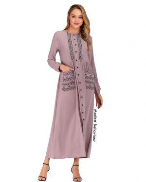 Buttoned Pink Tea Abaya