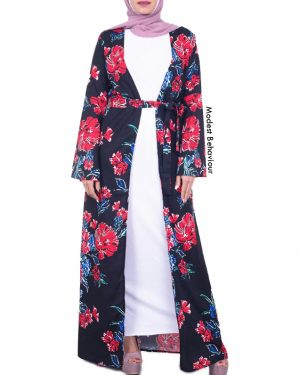 Dark Floral Long Cardigan Abaya