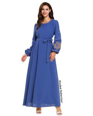 Deep Blue Embroidered Maxi Dress