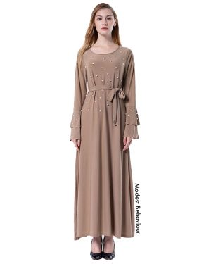 Double Flared Sleeve Maxi Dress With Pearls