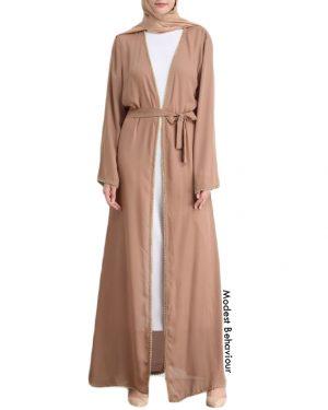 Elegant Trimmed Open Abaya