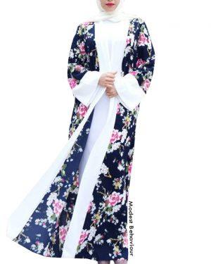 Floral Long Cardigan Abaya
