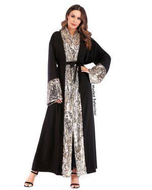 Gold Sequins Black Abaya