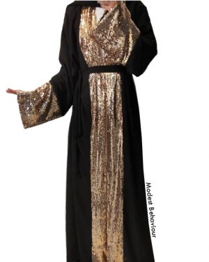 Gold Sequins Black Abaya