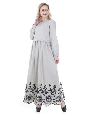 Gray Maxi Dress With Embroidery