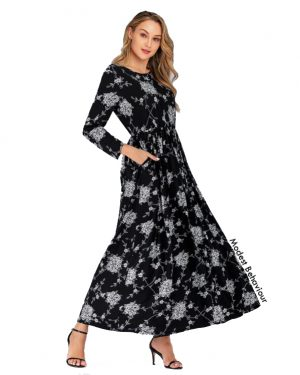 Grayscale Floral Print Maxi Dress
