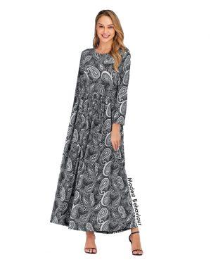 Grayscale Print Maxi Dress