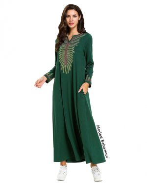 Green Abaya Dress With Embroidery
