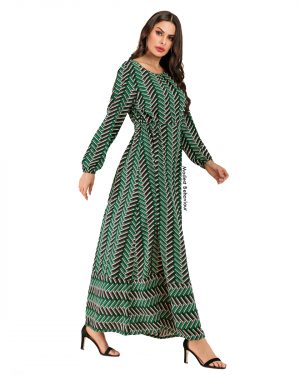 Green Patterned Maxi Dress