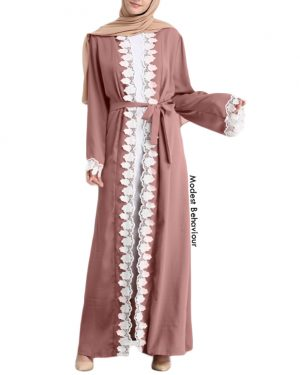 Mauve Abaya Trimmed With White Lace