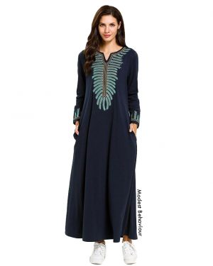 Navy Abaya Dress With Embroidery