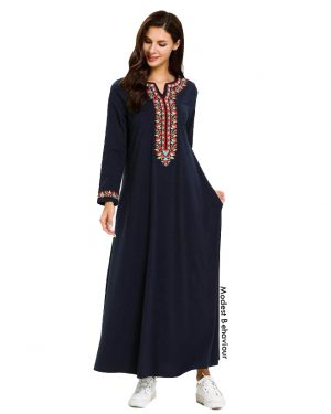 Navy Abaya Dress With Red Embroidery