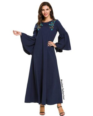 Navy Flared Sleeve Abaya Dress