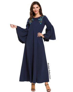 Navy Flared Sleeve Abaya Dress
