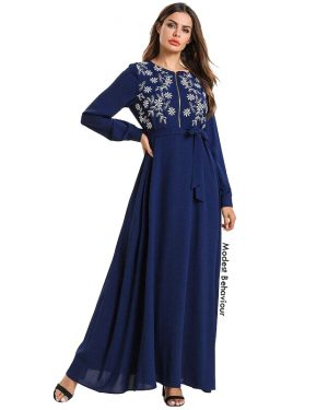 Navy Front Zipper Embroidered Maxi Dress