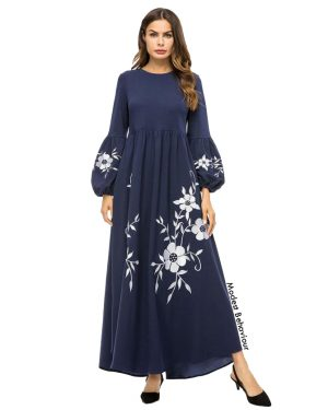 Navy With White Floral Pattern Maxi Dress
