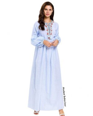 Pale Blue Embroidered Abaya Dress