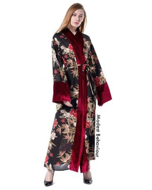 Pattern Abaya with Red Velvet