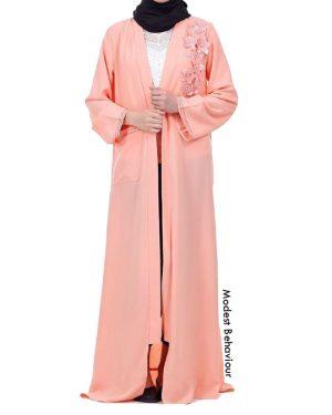 Peachy 3D Flower Abaya