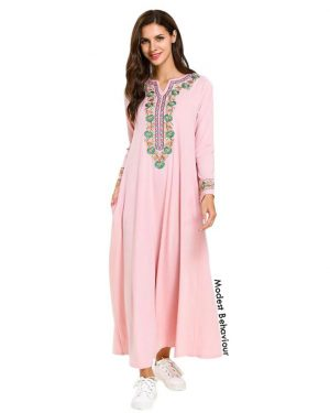 Pink Abaya Dress With Embroidery