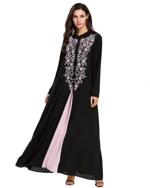 Pink Embroidered Black Abaya