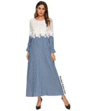Retro Lace Striped Maxi Dress