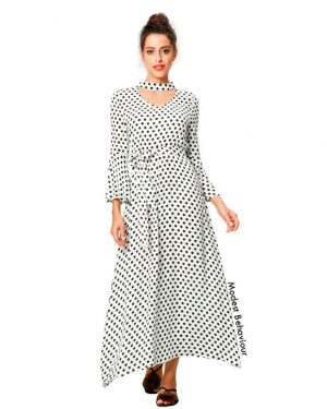 Retro Polka Dot Maxi Dress