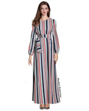 Retro Striped Patterned Maxi Dress