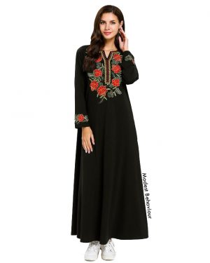 Rose Embroidered Abaya Dress