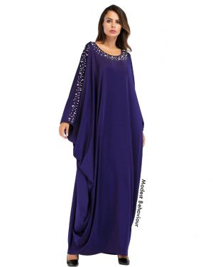 Royal Blue Butterfly Abaya With Pearls