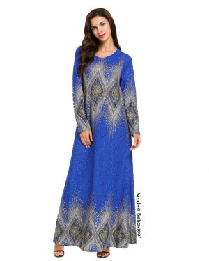 Royal Blue Peacock Patterned Dress