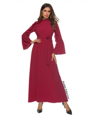 Ruffled Maxi Dress With Flared Sleeves