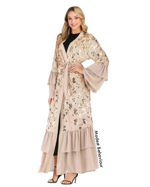 Ruffled Sequins Wedding Abaya + Hijab